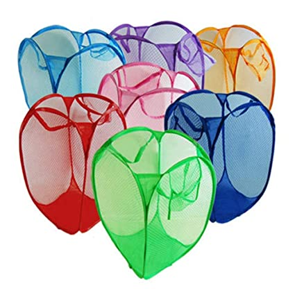 Laundry Foldable Basket Pop Up Bag Bin Hamper colors may vary ship at random