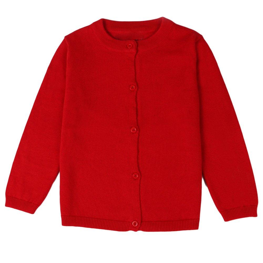 ASHERANGEL Little Girls Basic Crew Neck Solid Fine Knit Cardigan Sweaters Red 5T by Asherangel (Image #1)