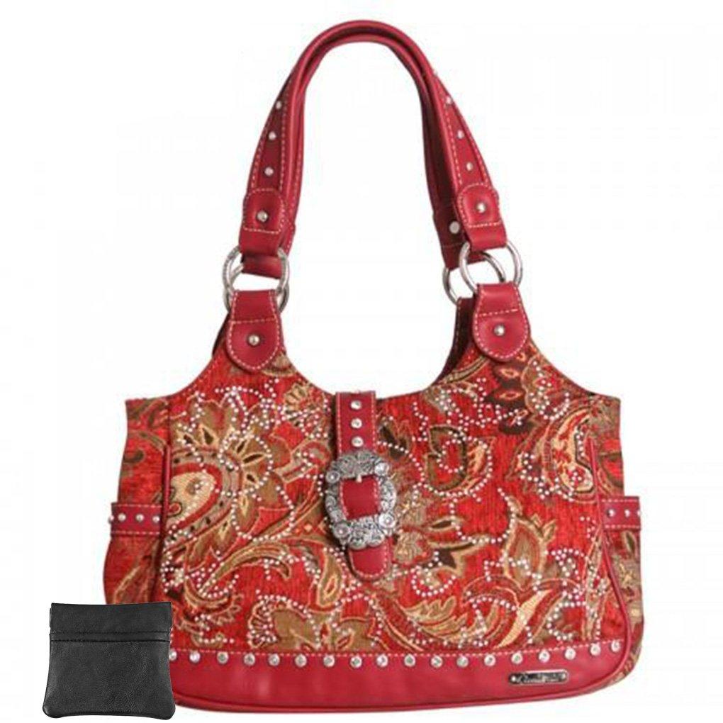 Western Tote Handbag Coin Purse Key Fob Bundle (Red CZ Studded Fabric)