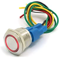 DollaTek 22mm Interruptor momentáneo Botón pulsador Interruptor 12V