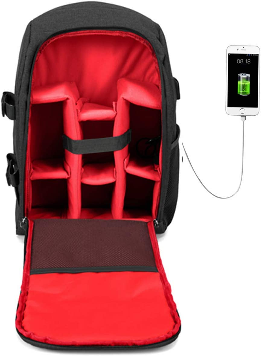 G-raphy Camera Backpack Photography Camera Bag Waterproof with Laptop Compartment/Tripod Holder for DSLR SLR Cameras (Red with USB)