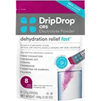 DripDrop ORS – Patented Electrolyte Powder for Dehydration Relief Fast - For Workout, Hangover, Illness, Sweating & Travel Recovery - Berry - 8 x 16oz Servings