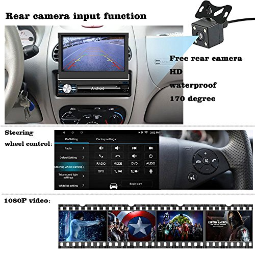 Yody Single Din Android In Dash Car Stereo with Bluetooth 7 Inch HD Touch Screen,Support WiFi,GPS/Navigation,Mirror Link,USB/SD/AUX/AM/FM Car Radio,Backup Camera,Microphone,wireless remote (no dvd) by Yody (Image #4)'