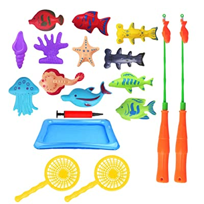 Les yeu Bath Toy,18-Piece Magnetic Fishing Set,Magnetic Fishing Pool Toys Game for Kids Age 3 4 5 6 Year Old: Toys & Games