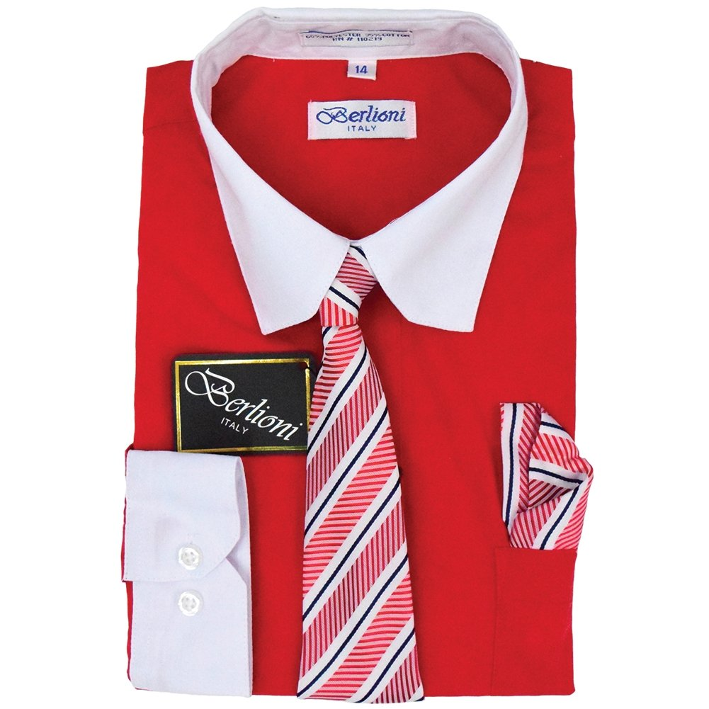 Berlioni Boys Two Tone Dress Shirts Kids Long Sleeve with Tie & Hanky