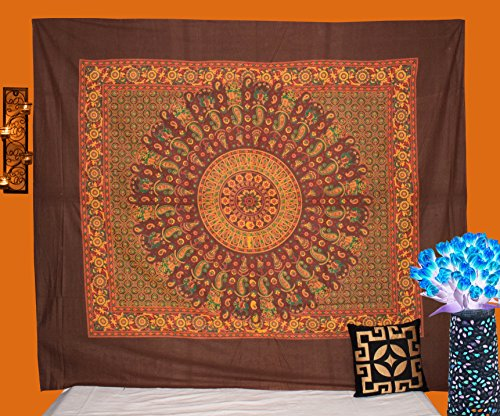 Hashcart India King Size Traditional Tapestries Wooden Block Printed Wall Hanging, Cotton Bedspread/Table Cloth Curtain/Bedsheet, Home Décor, Style 2003