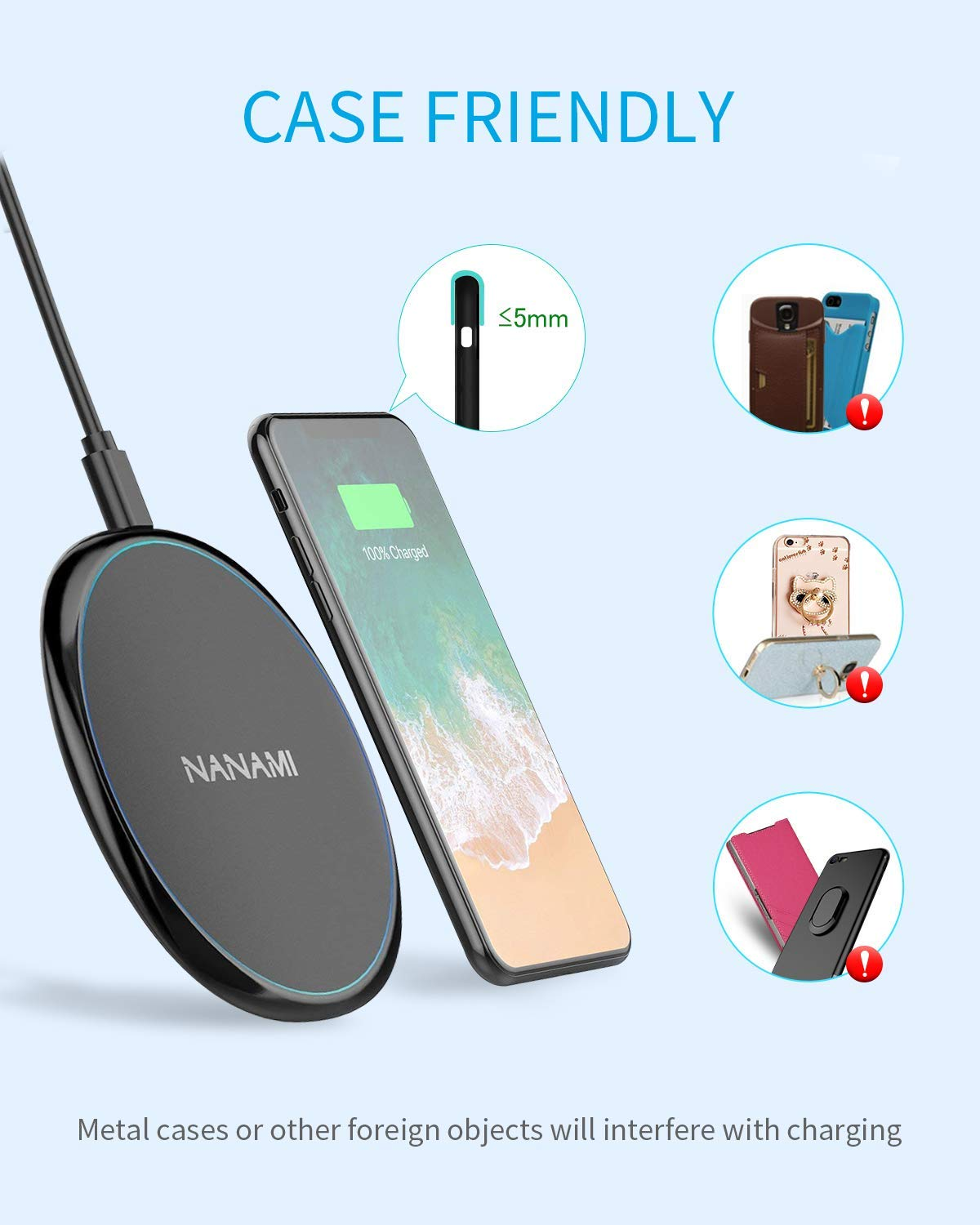 NANAMI Cargador Inal/ámbrico R/ápido, 7.5W Qi Wireless Charger para iPhone 11//XS Max//XR//X//8//8 Plus,10W Inal/ámbrica Carga R/ápida para Samsung Galaxy S10//S10+//S9//S8//S7//S6//Note 10//9//8 2-Pack AirPods Pro