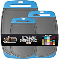 Gorilla Grip Original Oversized Cutting Board, 3 Piece, Juice Grooves, Larger Thicker Boards, Easy Grip Handle, Perfect…