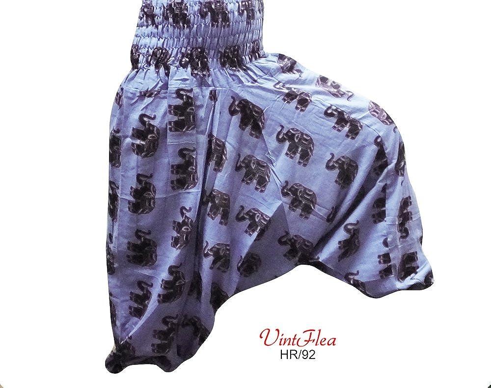 VintFlea Harem Pijama India Elefante Impresión hipie Pantalones Mujeres Grises Holgados de Algodón: Amazon.es: Ropa y accesorios