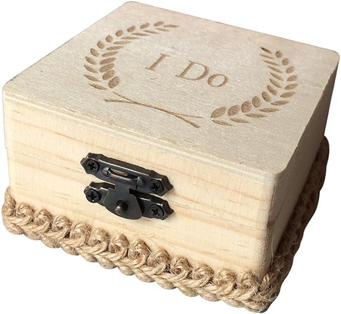 TOPBATHY Caja de Madera de Anillos de Novios Cajas de Madera para Decorar para Fiesta Ceremonia de Boda Caja de Joyería con Patron de I Do: Amazon.es: Hogar