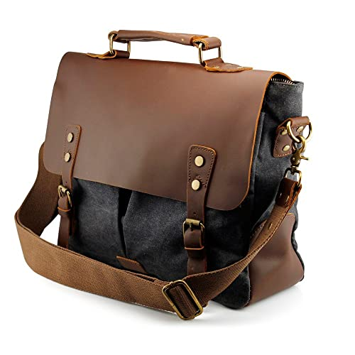 60251a68ec1c GEARONIC TM Men s Vintage Canvas Leather Messenger Bag Satchel School  Military Shoulder Travel Bag (Gray
