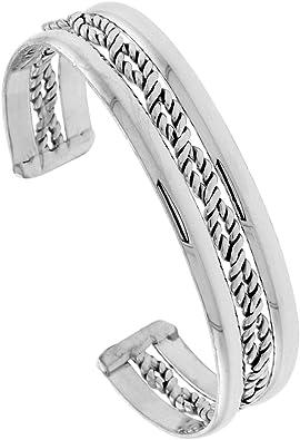 Sterling Silver Cuff Bracelet Twisted Wire Handmade 7.25 inch