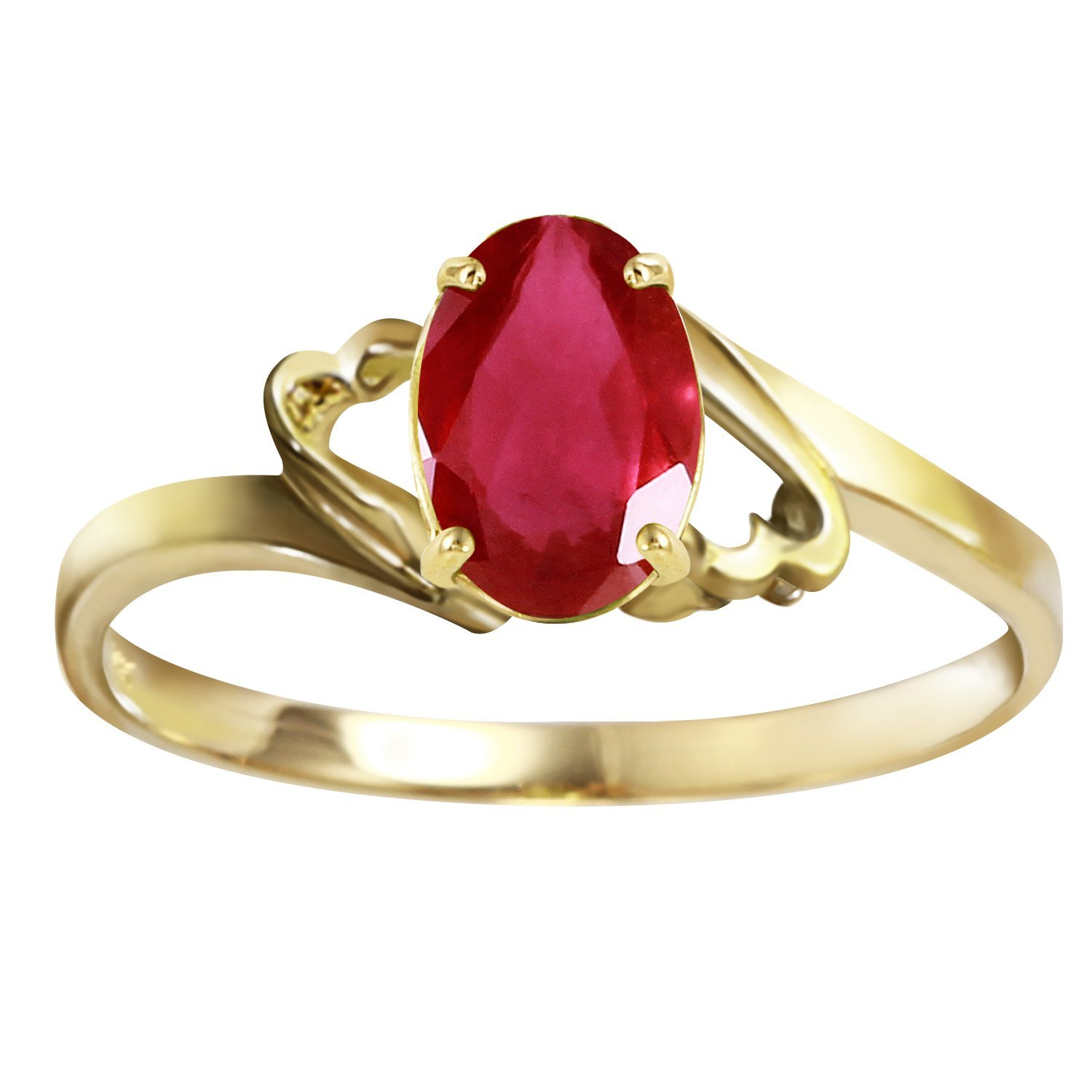 1.15 Carat 14k Solid Gold Ring with Natural Oval-Shaped Ruby - Size 9