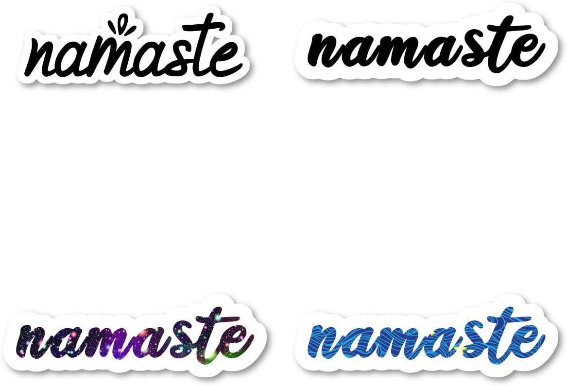 Namaste Sticker Pack Yoga Quotes Stickers - 4 Pack - Laptop Stickers - for Laptop, Phone, Tablet Vinyl Decal Sticker (4 Pack) S211233