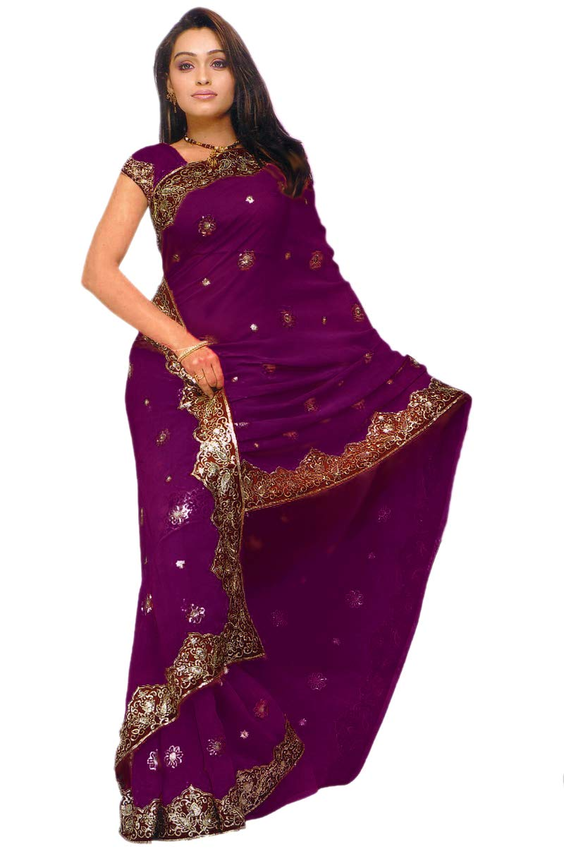 Indian Trendy Women's Bollywood Sequin Embroidered Sari Festival Saree Unstitched Blouse Piece Costume Boho Party Wear (Wine)