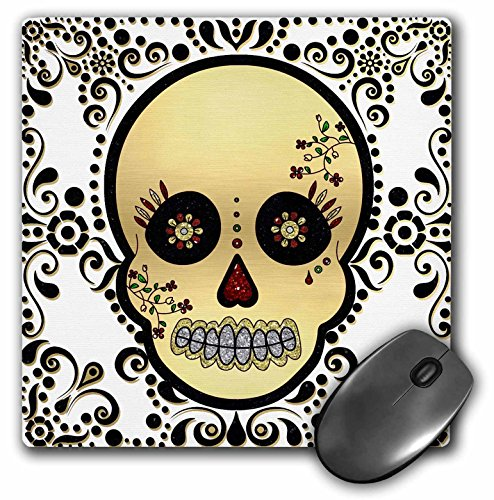3dRose LLC 8 x 8 x 0.25 Inches Mouse Pad, Sugar Skull Gold and Black (mp_175370_1)