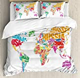 Wanderlust Decor King Size Duvet Cover Set by Ambesonne, World Map Made by Names Continents Europe America Africa Asia Graphic Art, Decorative 3 Piece Bedding Set with 2 Pillow Shams, Multi