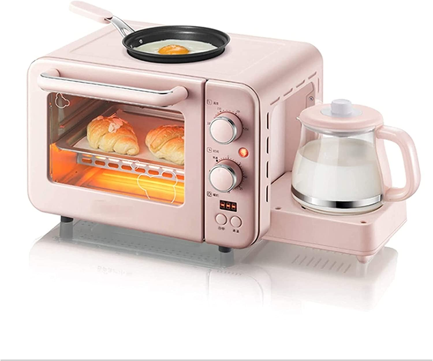 HCHENX Toaster Oven Mini Oven, 3 in 1 Breakfast Machine Multifunction Home Drip Coffee Maker Bread Pizza Oven Frying Pan Toaster Family Breakfast Making air Fryer