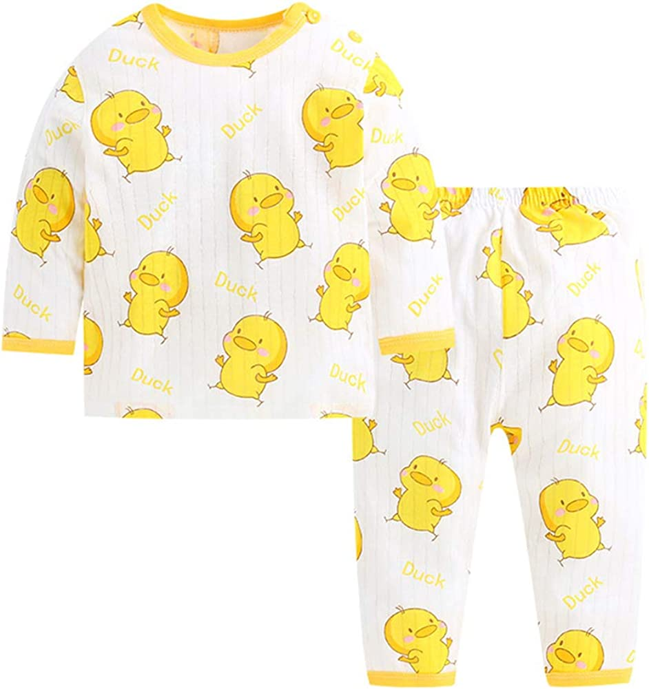 JooNeng Toddler Baby Cute Cotton Pajamas Sets Sleepwear,Kids Boy Girl Cartoon Long Sleeve Shirt+Pant Sets Clothes