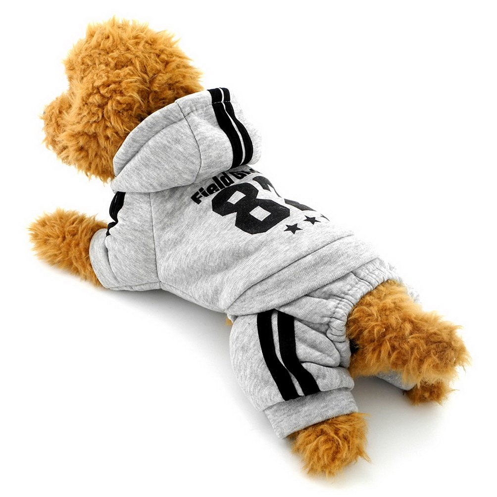 SELMAI Dog Hooded Sweatshirts Fleece Coat Small Dog Clothes Four-leg Outfits Gray XL