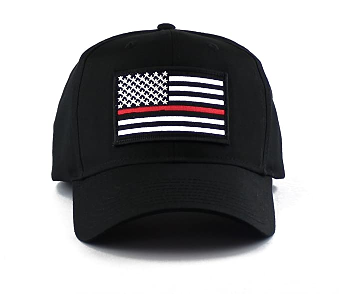 65364d59a85 Thin Red Line Fire EMS Embroidered Iron on Patch Snapback Cap (Black ...