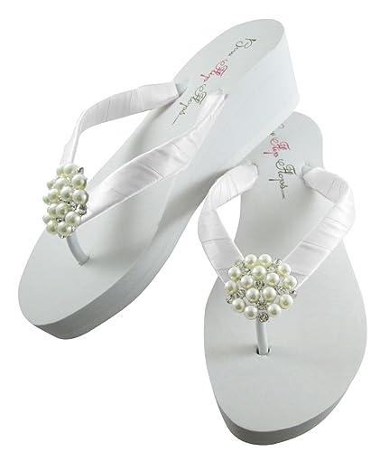 7dbb177b4 Amazon.com  Handmade and Customizable Pearl Embellishment Wedge Bridal Flip  Flops  Handmade