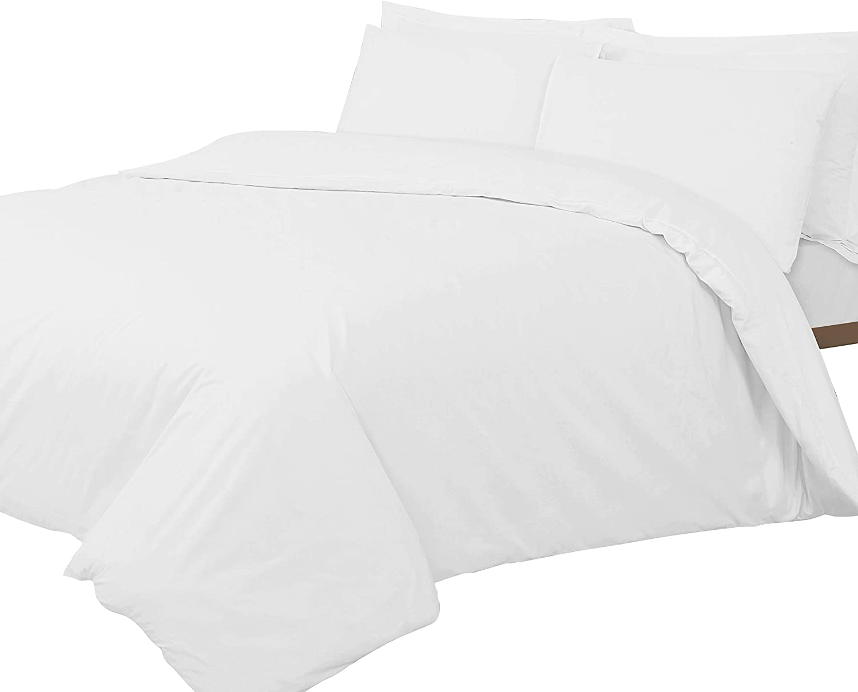 Linen Zone - Sábana de algodón egipcio, 400 hilos, 100% algodón egipcio/ algodón/algodón egipcio/lino/satén., Blanco, cama doble King: Amazon.es: Hogar