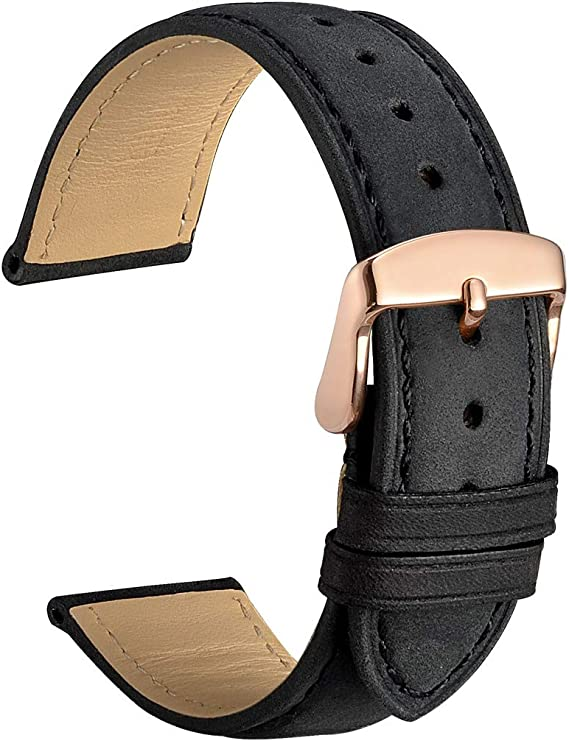 Handmade Elegant Saffiano Black leather watch Strap