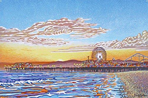 Santa Monica Pier Metal Art Print by David Linton (24