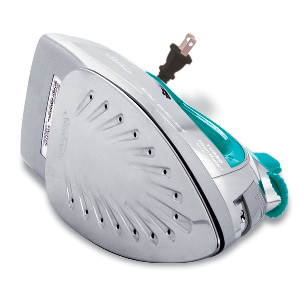 Chrome//Teal GCSBSP-201-FFP Sunbeam Steammaster Steam Iron 1400 Watt Large Anti-Drip Nonstick Stainless Steel Iron with Steam Control and Retractable Cord