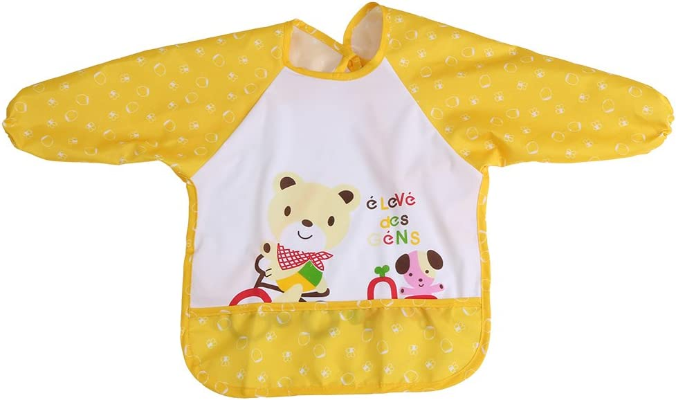 Babero con mangas largas impermeable aislado para el niño pequeño de la niña del bebé 1-3 años viejo(Amarillo)