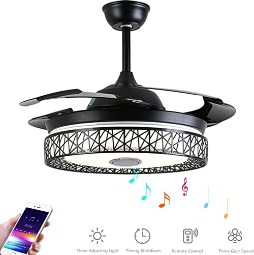 SenHome 42 Inch Ceiling Fan with Light and Remote LED Three-Light Retractable Blades with Bluetooth Speaker Music Ceiling Light for Living room Restaurant Hall