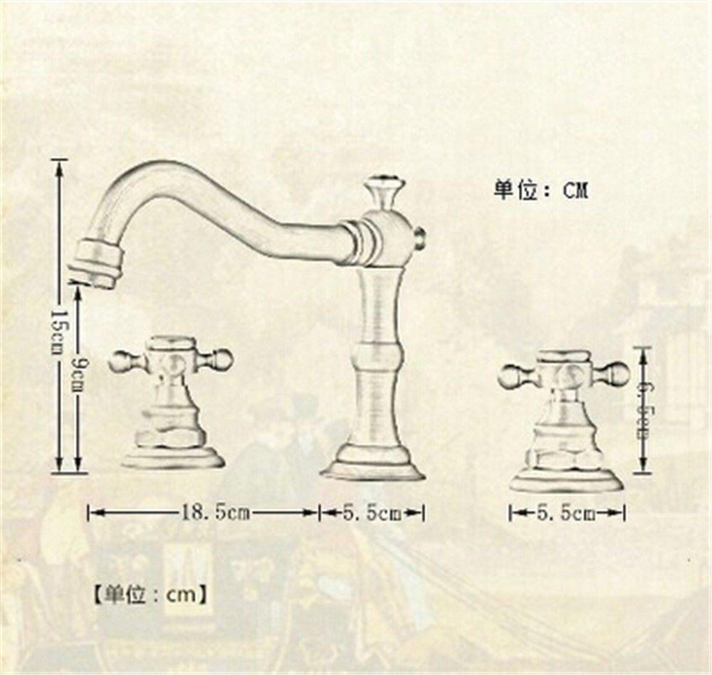 AQiMM Waschtischarmatur Wasserhahn Waschbecken Antike Antike Antike DREI Löcher Und Kaltes Wasser 2 Bis 8 Zoll Retro Badezimmer Mischbatterie ee6f42