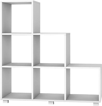 Mueble / librería contenedor de madera 3 estantes 5 cubos ...