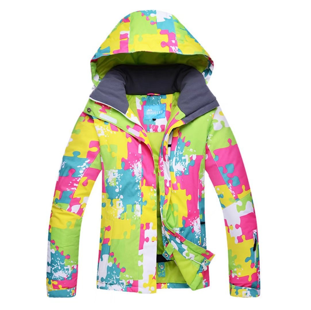OLEK Women's High Windproof Waterproof Technology Colorful Printed Snowboarding Jacket Pants