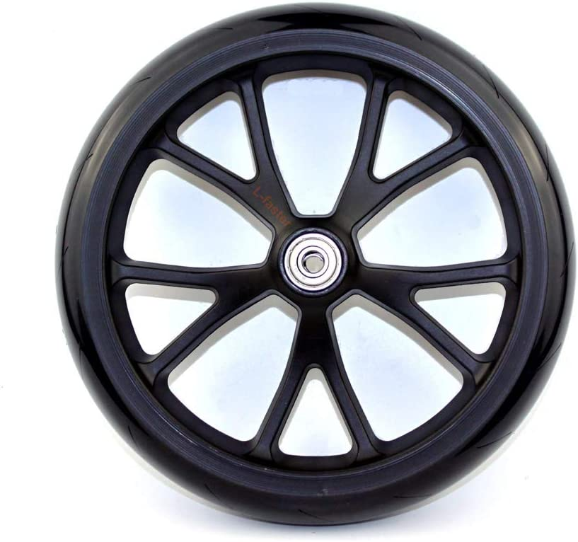 L-faster 8 Inch Scooter PU Wheel with Bearings Kids Kickscooter Wheel Adult Scooter Replacement Spare Wheel Shopping Cart Solid Wheel
