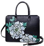 PIJUSHI Women Satchel Handbag Top Handle Designer Floral Bag 17009(One Size, Black/Lemon Yellow)
