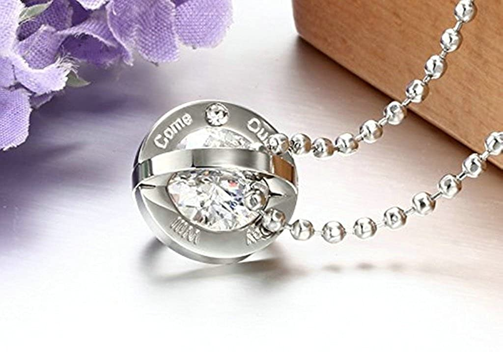 Aooaz Stainless Steel Couples Ring Necklace Love Vow Engrave With Crystal CZ Two ToneFashion Charm