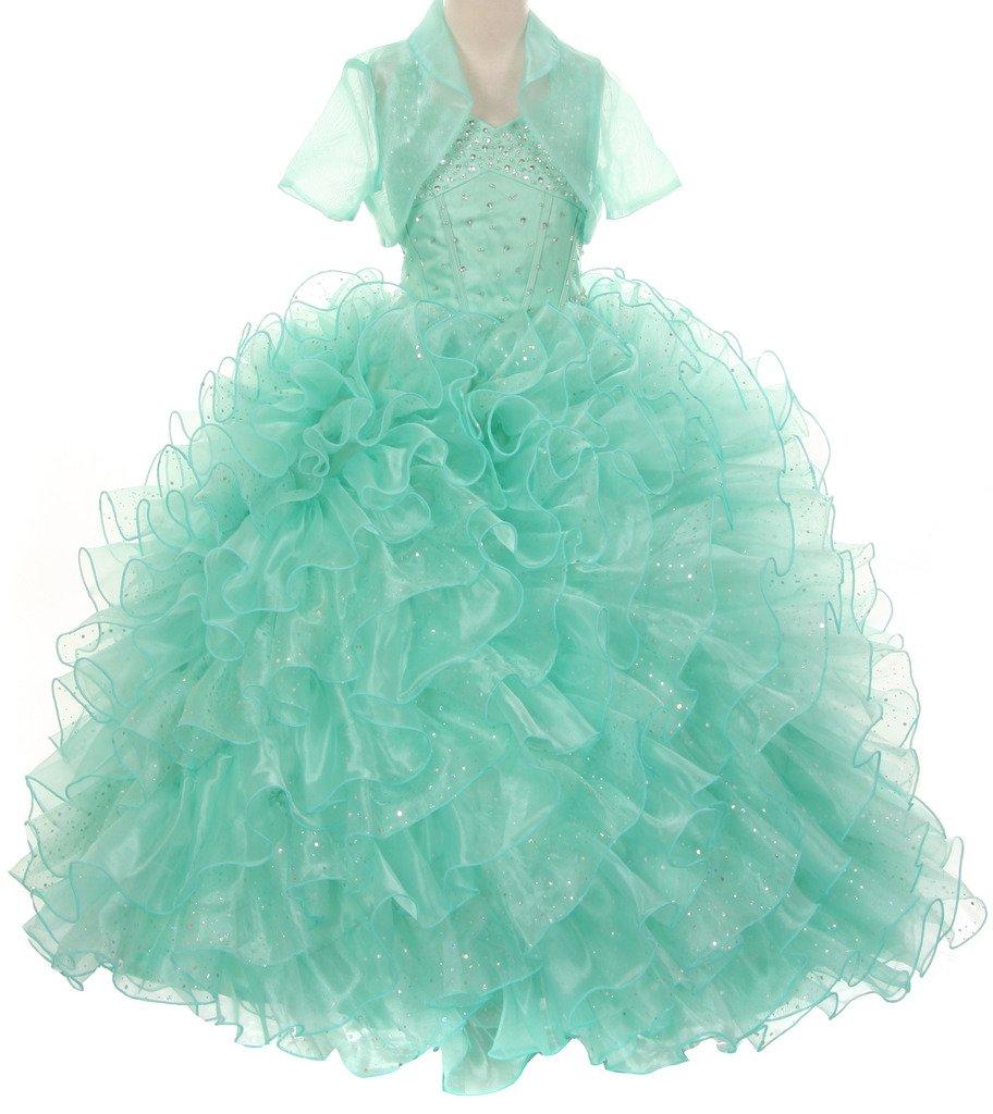 Pageant Sparkling Ruffle Wedding Prom Flowers Girl Dress Big Girls 4 - 14 Mint