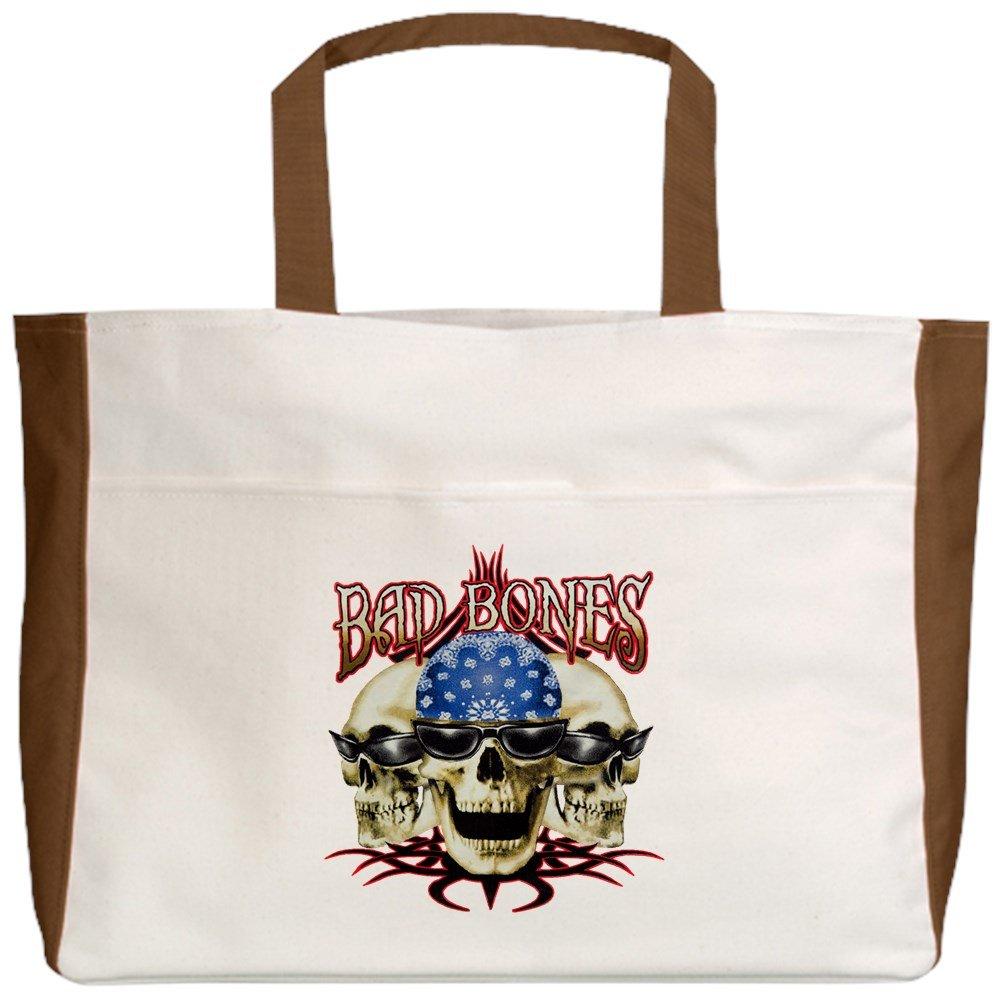 Royal Lion Beach Tote (2-Sided) Bad Bones Skulls Sunglasses - Mocha