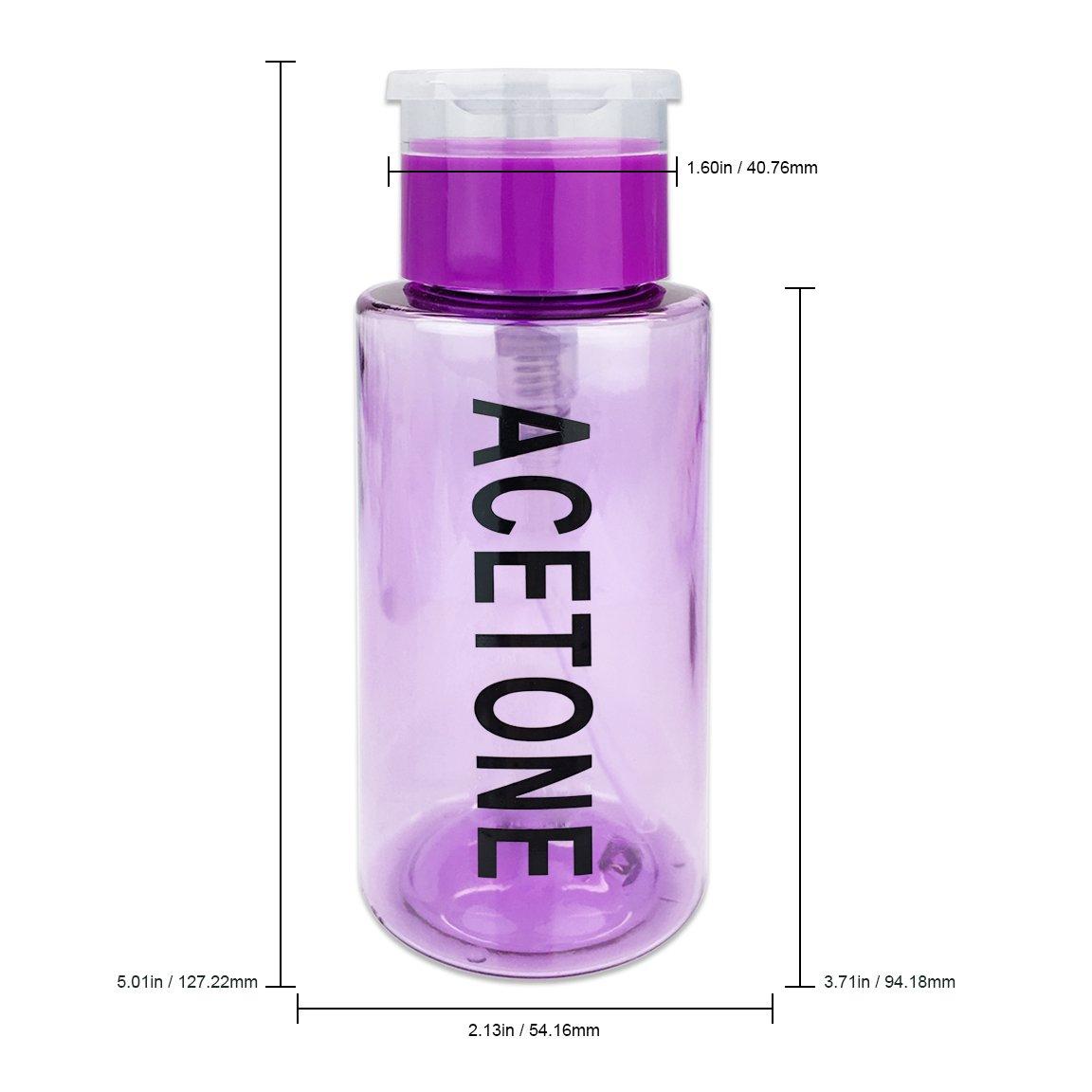 418752889855 PANA Brand 7oz. (Quantity: 1 Pieces) Acetone Labeled Liquid Push Down Pump  Dispenser Bottle with...
