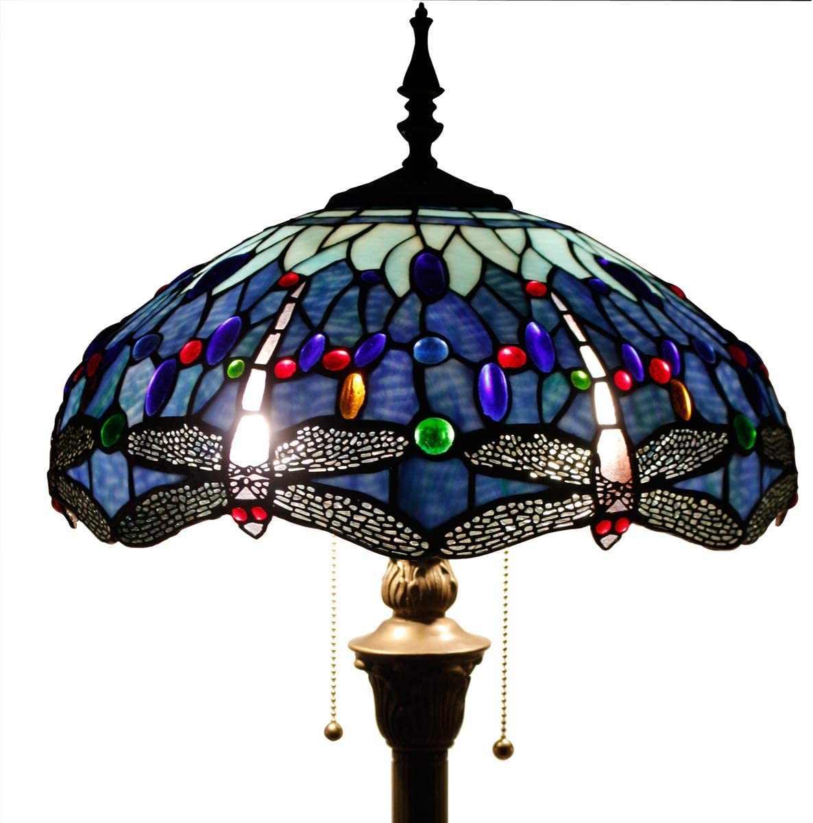 Tiffany Style Floor Lamp Stained Glass Standing Reading Light 64 Inch Tall Blue Purple Cloudly Crystal Lover Flower Shade 2 Pull Chain Antique Base Living Room Bedroom S558 WERFACTORY