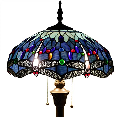 Tiffany Style Floor Standing Lamp W16H64 Inch Tall Blue Stained Glass Crystal Bead Dragonfly Shade 2E26 Antique Reading Lighting Resin Base S004 WERFACTORY Lamps Living Room Bedroom Table Lover Gift