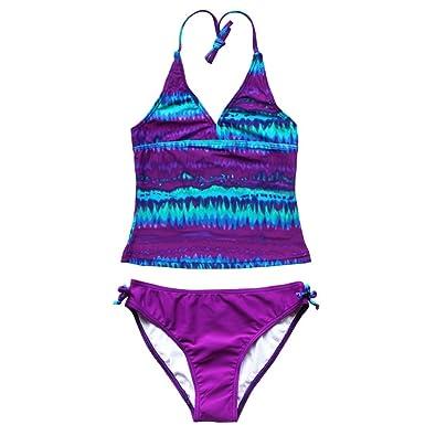 Dpois Girl Mambo Tie Dye Purple Swimming Costume Kids 2 Piece
