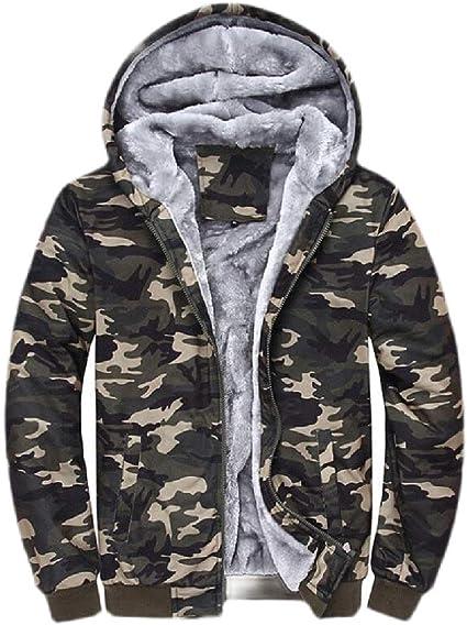 Jotebriyo Mens Fleece Lined Hooded Outwear Button Down Warm Sweatshirt Jacket