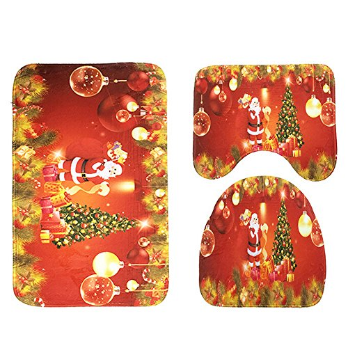 GBSELL 3pcs/set Bathroom Non-Slip Blue Ocean Style Pedestal Rug + Lid Toilet Cover + Bath Mat (Christmas Red) by Globesell