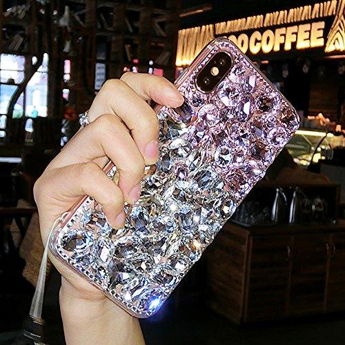 Aifeer iPhone X Diamond Case, 3D Handmade Luxury Sparkle Rhinestones Full Crystals Diamond Case Cover for iPhone X (Pink & White)