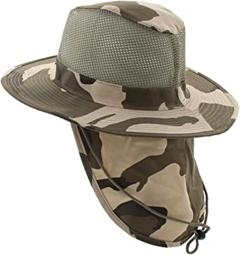 JFH Wide Brim Bora Booney Outdoor Safari Hat w//Neck Flap /& Sun Protection