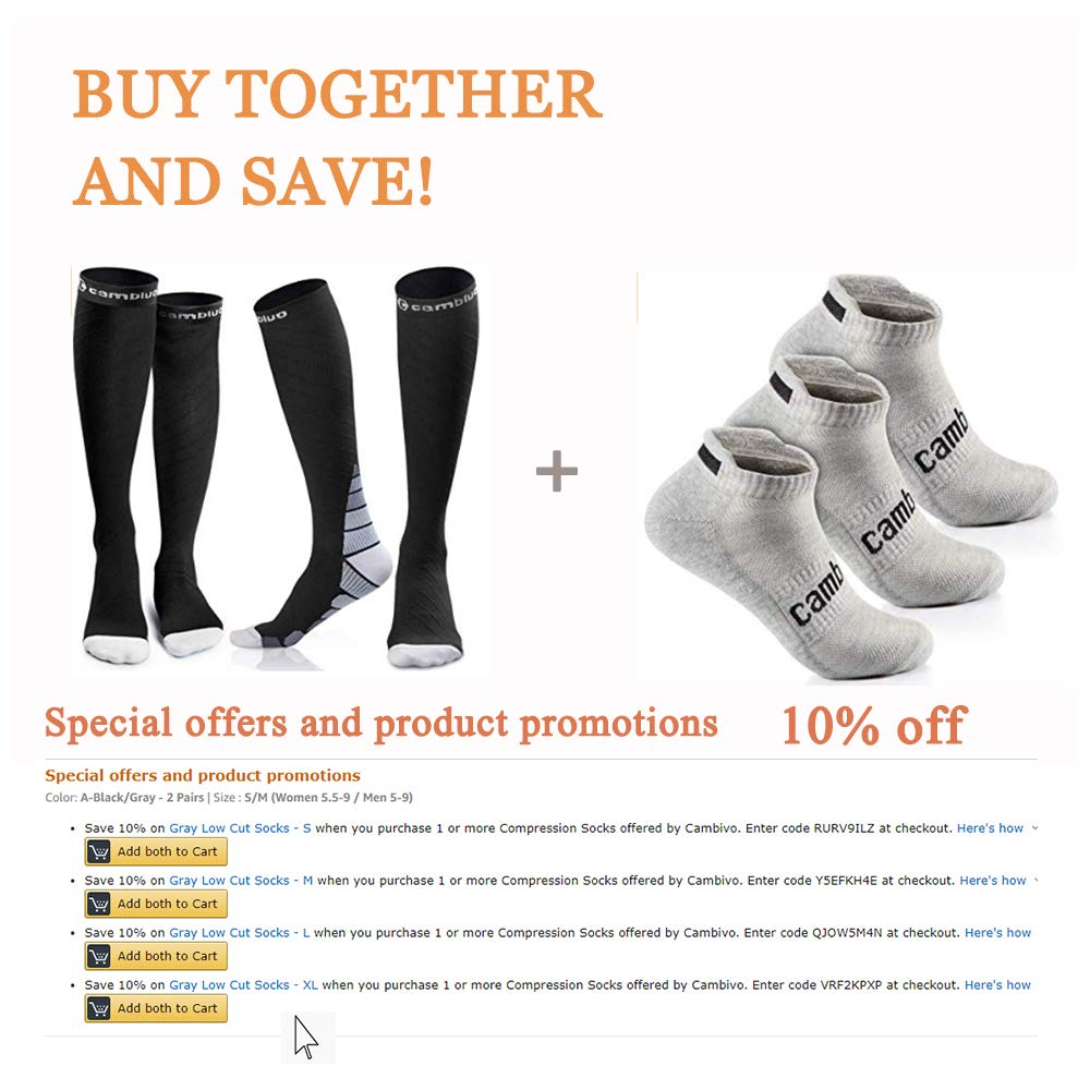 - 2 Pairs Nurses CrossFit 20-30 mmHg Flight fit for Running Travel Pregnancy Cambivo Compression Socks for Women /& Men Athletic Sports