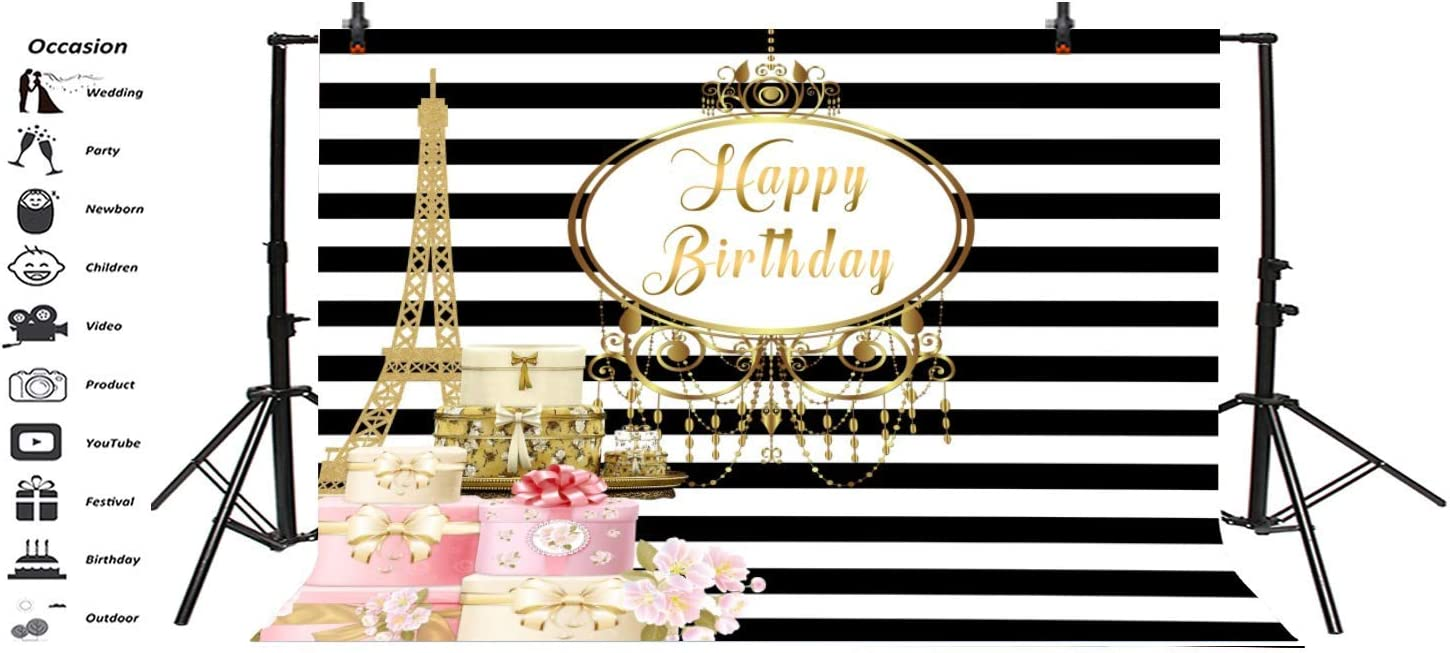 Happy Birthday Backdrop 10x6.5ft Black and White Stripes Polyester Photography Background Paris Golden Eiffel Tower Gift Girls Woman Kids Party Banner Studio Decor Photo Props Portrait Shoot